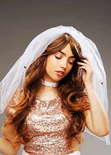 Struts Hen Party White and Gold Bride Veil Headpiece