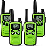 Walkie Talkies for Adults Long Range 4 Pack 2-Way Radios Up to 5 Miles Range in Open Field 22 Channel FRS/GMRS VOX Scan LCD Display with LED Flashlight Ideal for Biking Hiking Camping(Green)