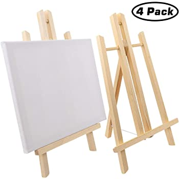 Jekkis 4 Packs Easel with Canvas Sets, 12 x 9.5 Inches Canvas and 16 x 9.5 Inches Wooden Easels, Tabletop Display Painting Set for Kids and Adults