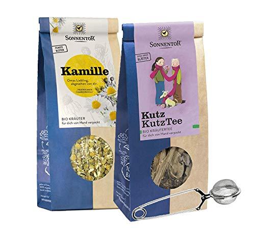 Sonnentor: 100% bio Kräutertee Set lose: Kutz Kutz Herbsttee + Kamille mit gratis Teezange BIO-AT-301