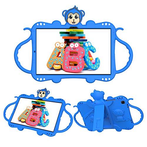 JCTek Custodia protettiva per bambini per Samsung Galaxy Tab A7 T505 T500 T507 10.4 pollici 2020 Tablet, simpatico fumetto scimmia antiurto maniglia stand tracolla bambini caso (blu)