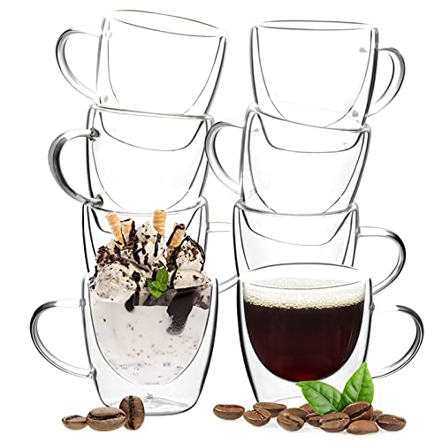 8 Pack Double Wall Glass Coffee Mugs, OAMCEG 6 Ounces Espresso Mug Cups, Clear Coffee Cup, Glass Coffee Cups, Thermo Insulated Coffee Mug With Handle (6oz/180ml, Set of 8, Small Size)