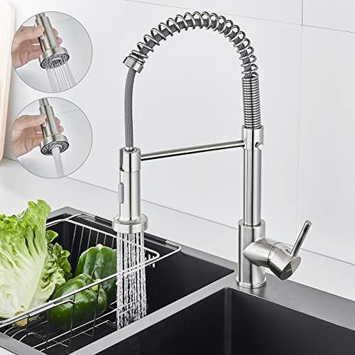 Flexibler Wasserhahn Küche Ausziehbar, WOOHSE Küchenarmatur mit Spiralfeder, Spültischarmatur Mischbatterie Küche mit Brause, Spiralfederarmatur Edelstahl Gebürstet, 360° Schwenkbare Armatur