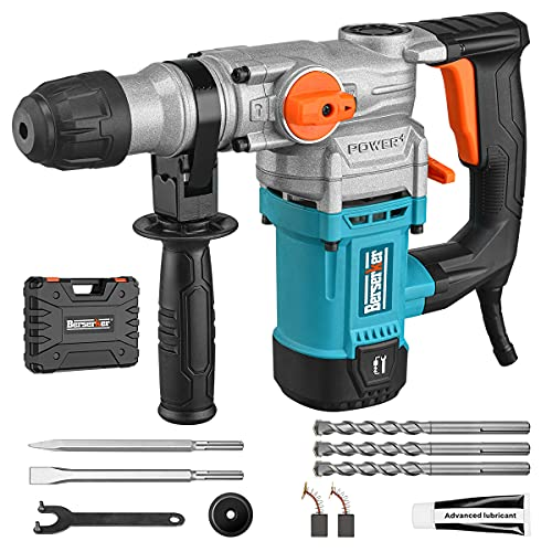 Berserker Rotary Hammer Drill 1-1/4 Inch SDS-Plus 8 Amp Positive and negative switch Safety Clutch 4 Function Vibration Control 1150 RMP 5100 BPM 5 Joules Impact Energy