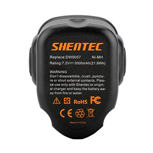 Shentec 2 Pack 3000mAh 7.2V Battery Compatible with Dewalt DW9057 DE9057 DE9085 DW920K DW920K2 DW925K DW925K2 DW968K, 7.2V Ni-MH Battery
