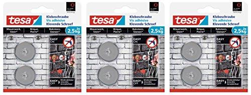 tesa Klebeschraube für Mauerwerk und Stein, Halteleistung 5 kg, (rund | 6 Stück)