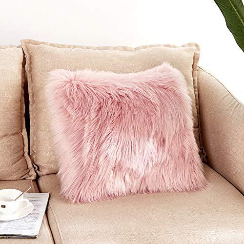 Funda de cojín de piel sintética suave y esponjosa, cuadrada, para salón, sofá, dormitorio, coche, 50 x 50 cm, color rosa