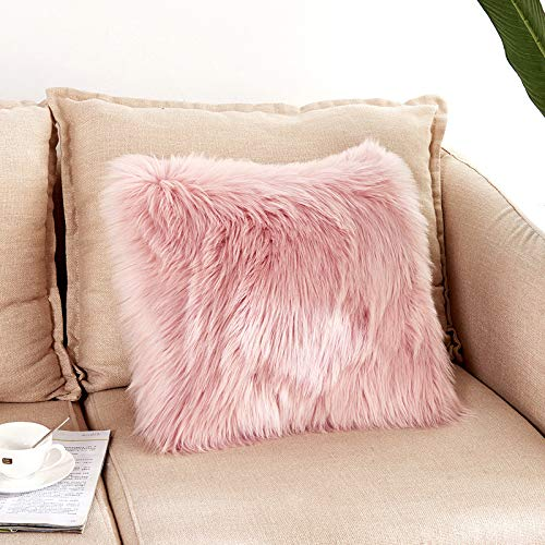 New Faux Fur Throw Pillow Cover- Fluffy Soft Decorative Square Cushion Cover For Livingroom Sofa Bedroom Car 45x45CM/18x18 Inch Pink