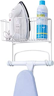 mDesign Metal Wall Mount Ironing Board Holder with Large Storage Basket - Easy Installation, Holds Iron, Board, Spray Bott...