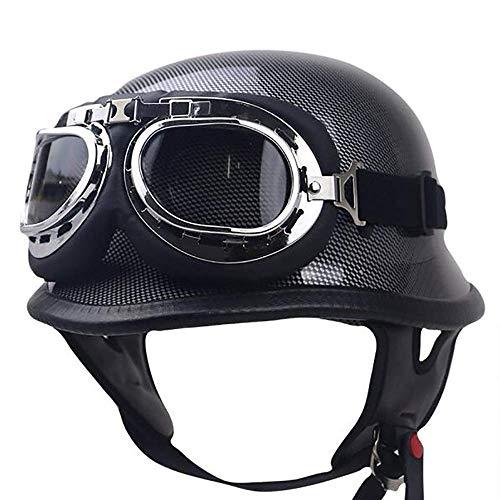Xwenx Motocicleta Open Face Casco Dot Aprobado Estilo Alemán Piloto Vintage Cuero Half Casco Hombres Motorizador Mopero Moponeo Negro...
