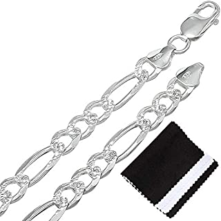925 Sterling Silver 5.5mm-9.5mm Italian Crafted Diamond-Cut Figaro Chain 18