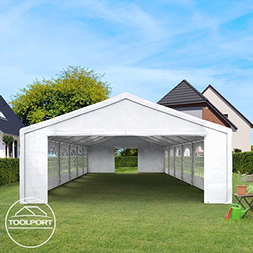 TOOLPORT Hochwertiges Partyzelt 4×8 m Pavillon Zelt 240g/m² PE Plane Gartenzelt Festzelt Wasserdicht weiß - 3