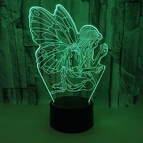 Nieuwe engel 3D licht Visuele geschenken 3D Kleine tafellamp Deco bureaulamp 7 kleuren veranderende baby kamer nachtlampje