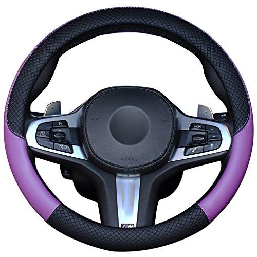 LucaSng ハンドルカバー ステアリングカバー シンプル 質感 革 普通車 ミニバン SUV 兼用 江戸紫 37CM