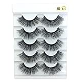 skonhed 6D Faux Mink Hair Crisscross EyeLashes Natural Fluffy Multilayers Wispy Flared Handmade False Eyelashes Extension, 5 Pairs (6D-013)