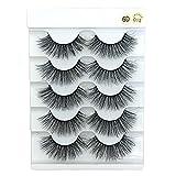 misups 6D Faux Mink Hair Crisscross EyeLashes Natural Fluffy Multilayers Wispy Flared Handmade False Eyelashes Extension, 5 Pairs (6D-013)