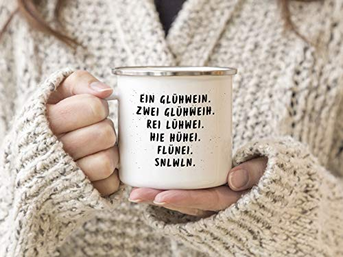 Interluxe EMAILLE Becher Retro Tasse EIN GLÜHWEIN Geschenk lustiger Spruch Weihnachtsmarkt Winter