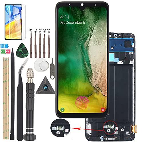 RongZy Compatible con OLED Samsung Galaxy A70 A705 A705F SM-A705MN Pantalla LCD de repuesto y digitalizador de pantalla táctil con herramientas (compatible con huellas dactilares).