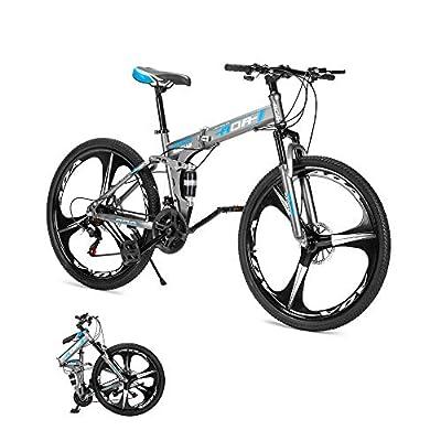 AOA POWER Adult Folding Mountain Bikes with Full Suspension,21 Speed,Double Disc Brake,26 inches Wheel,Black Grey (Grey)