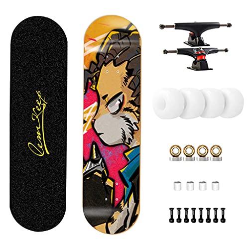 qiaoliang 31'x 8' Pro Skateboards Completan El Monopatín Estándar De 7 Capas Maple Double Kick Concave Standard Y Trucos Skateboards para Niños Y Adultos Principiantes