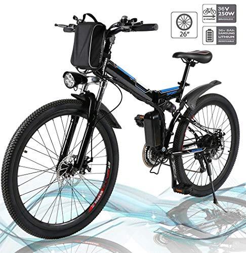 Hiriyt Faltbares E-Bike,36V 250W Elektrofahrräder, 8A Lithium Batterie Mountainbike,26 Zoll Große Kapazität Pedelec mit Lithium-Akku und Ladegerät (Faltbar_Schwarz)