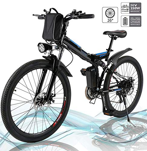 Hiriyt 26'' Electric Mountain Bike with Removable Large Capacity Lithium-Ion Battery (36V 250W), Electric Bike 21 Speed Gear and Three Working Modes (Black-Foldable-Spoke wheel)