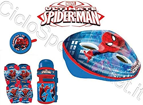 Kit Spiderman Niño Niño bicicleta casco + Timbre + Botella + rodilleras