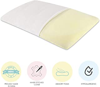 """The White Willow Orthopedic Memory Foam Soft Thin Slim Sleeping Bed Pillow Designed for Stomach, Back & Side Sleepers (24"""" L x 15""""W x 4""""H) Off White"""