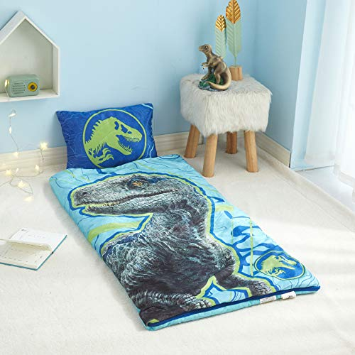 Jurassic World 2 Indoor Slumber Set, Zip Around Sleeping Bag with 13'x18' Pillow, Ages 3+, 46'x26', Blue