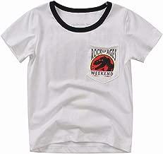 Richingfu Jurassic World Boy Dinosaur T-Shirt Top Cool Save Dinosaur Round Neck Pocket Short Sleeves