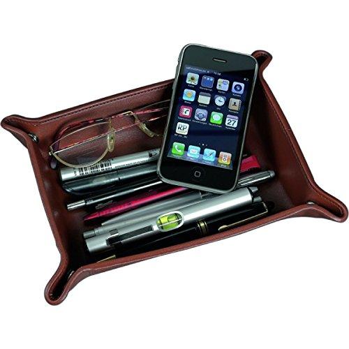 Alassio 52005 - Utensilienschale aus Leder, Ablage in Cognac - braun, Schale ca. 16 x 10 x 4 cm, Ablageschale für Kleinteile, Lederschale als Taschenleerer für Schreibtisch und Konsole