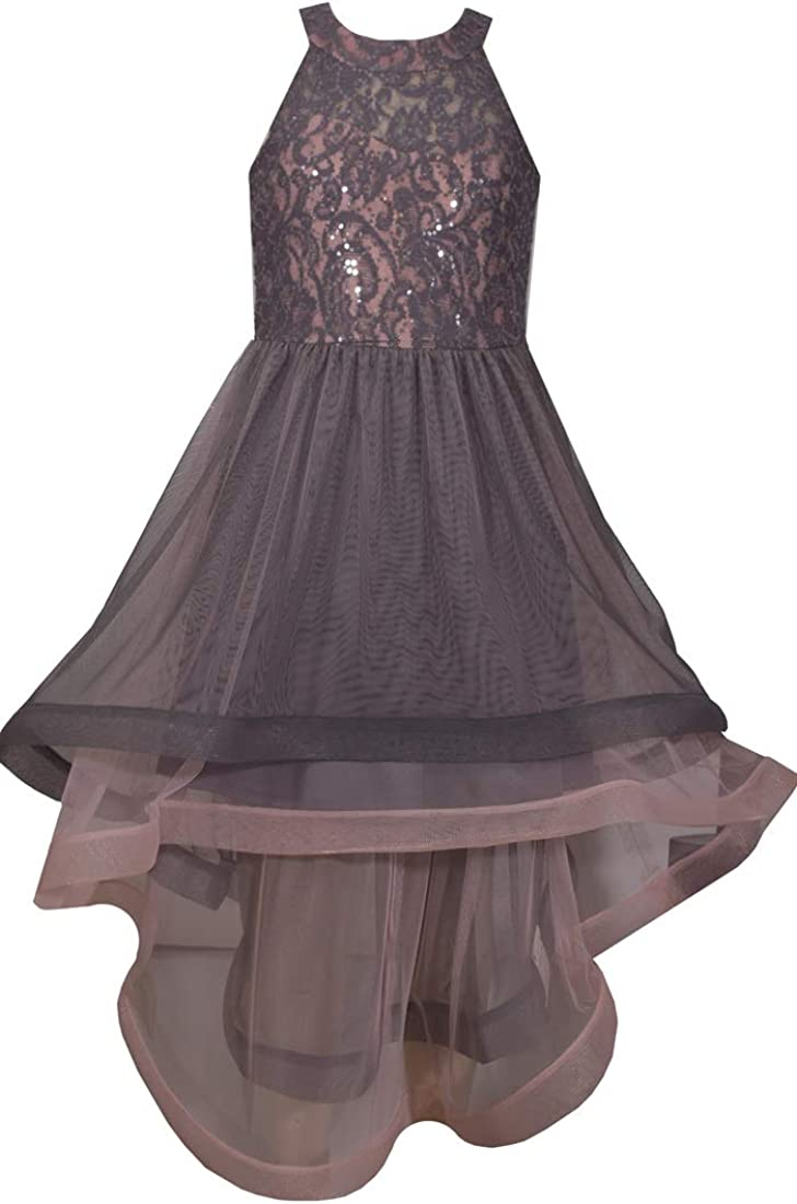Bonnie Jean Girl's Special Occasion Prom Dress - Grey and Pink Sequin