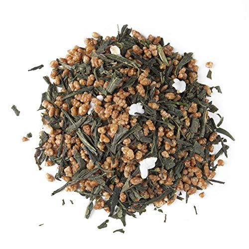 Aromas de Te - Te Verde Japones Bancha - Te Verde Genmaicha - Con Arroz Pelado - Ideal para consumir por la manana - Bebida Energizante Natural - Bajo en Teina - 40 gr.