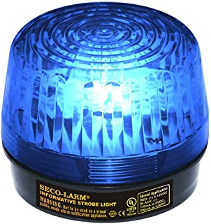 Seco-Larm SL-1301-SAQ B bluee Lens Strobe Light, 10 greenical LED strips (54 LEDs) increase visibility from various directions, Built-in 100dB programmable siren, Six different flash patterns