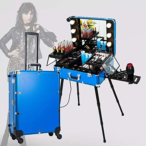 ALYR Professional Valise Trolley Maquillage, Valise à Cosmétiques Trolley à Maquillage Mallette à Maquillage Organiseur Valise de Maquillage à roulettes,Blue