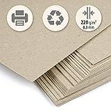 50 Blatt dickes Papier Recyclingkarton beige Kraft hell DIN A4 220 g/m2 Kompakte Kartonage zum Drucken, Basteln, Scrapbooken, Visitenkarten