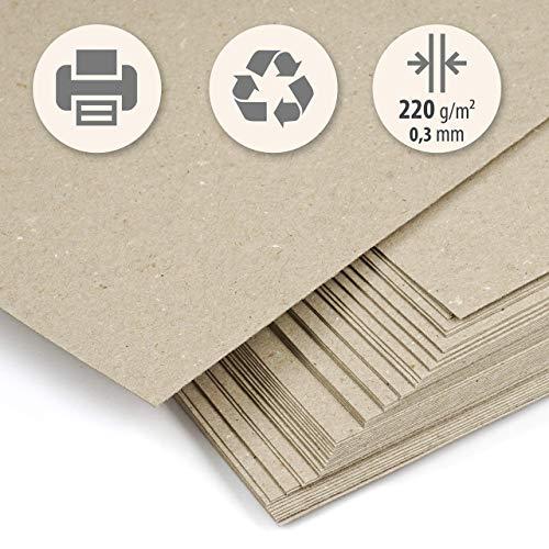 50 Blatt dickes Recyclingpapier beige Kraft klar DIN A4 220 g/m² Kompaktkarton zum Drucken, Basteln, Scrapbooking, Etiketten, Visitenkarten