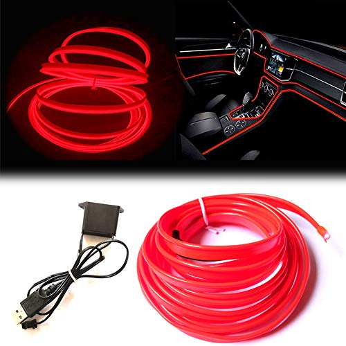 USB El Wire Red, 3M Neon Lights 5V with Fuse Protection for Automotive Car...