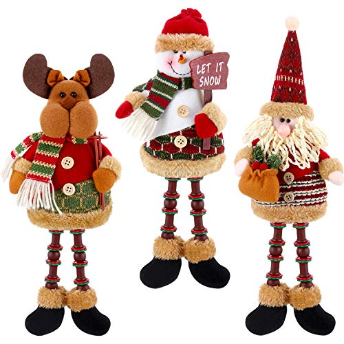 3 Pieces Christmas Sitting Santa Claus Snowman Reindeer Christmas Ornament Long Legs Table Fireplace Decor Home Decoration Christmas Figurines Plush (Santa Claus, Snowman, Elk)