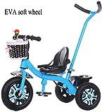 HUJPI Triciclo Infantil, Triciclo para Niños con Empujar la manija Triciclos Bebes con la Caja de almacenaje del Triciclo del bebé de la Bici con Pedales,Blue