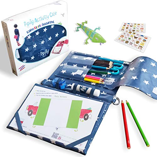 Pipity Art and Craft and Activity Set for Boys and Girls | Compact Carry Case with Stationery Set and Activity Book | Games, Puzzles, Arts and Crafts | Great Gift for kids age 6-12 Years Old. Blue Case