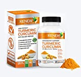 Double Strength Turmeric + Black Pepper: Renew Actives 1300mg Turmeric Curcumin Supplement. Powerful Joint Support