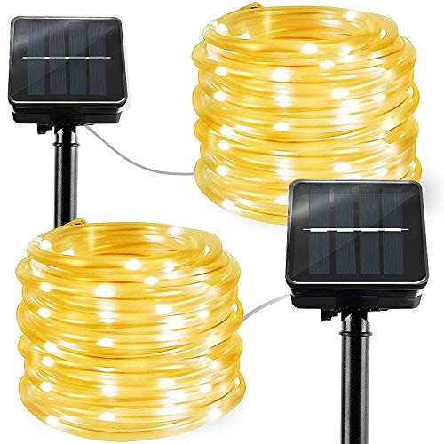LiyuanQ Solar String Lights Outdoor Rope Lights, 2 Pack 8 Modes 100 LED Solar Powered Outdoor Waterproof Tube Light Copper Wire Fairy Lights for Garden Fence Yard Party Wedding Decor (Warm White)