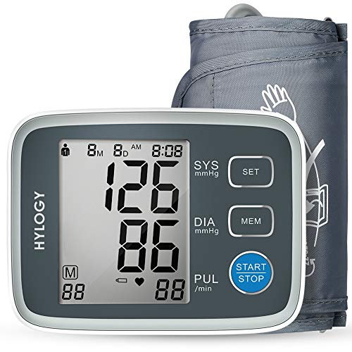 HYLOGY Digitales Oberarm-Messgerät, Blutdruckmessgerät, Oberarm-Blutdruckmessgerät, große LCD-Anzeige, 2 x 90 Speicherplätze (Grau)
