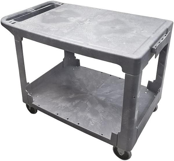 Mobile Cart Carrier Plastic FLAT SERVICE UTILITY CART 2 Shelves 500lbs 25 X 42