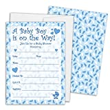 Boy Baby Shower Invitations - 25 Cards with Envelopes
