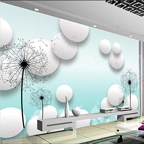 Dianer Aangepaste 3D muurschildering Dandelion Tv Kamer Achtergrond Muur Romantische Fiets Liefhebbers Koffie Huis Behang muurschildering Afmetingen: 250 x 175 cm