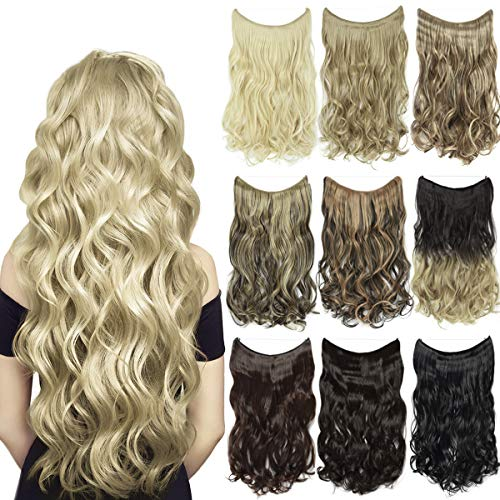 EMERLY Secret Halo Hair Extensions 20inch One Piece Highlight Invisible Crown Headband Hairpieces Hidden Elastic Miracle Fish Wire Synthetic Wavy Ombre Hair Extensions