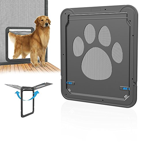 Yunt Hundeklappen Groß Magnetisch Automatische Verschließbar Haustierklappe Katzentür Schwarz für Hunde & Katze pet door 42*37cm