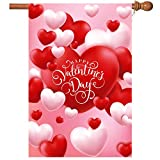 Valentine Flag, Double Sided Valentine's Day Flag Red and White Love Valentine Garden Flag 28 x 40 Inch Valentine House Flags for Valentine's Day Decoration with 2 Grommets